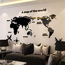HTY66ZM Creative World Map Acrylic Decorative 3D Wall Sticker for Living Room Bedroom Office Decor 5 Sizes DIY Wall Sticker Home Decor-Black-S 0.8x0.4m
