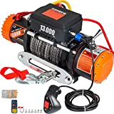 VEVOR ATV UTV Winch Kit Truck Winch 13000LBS 12V Electric Winch with 26m/85FT Synthetic Rope, Black Wireless Remote Control, Powerful Motor Compatible with UTV ATV & Jeep Truck Wrangler