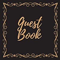 Guest Book - Gold Frame #6 For any occasion Light Green Color Pages 8.5 x 8.5 Inches 82 pages