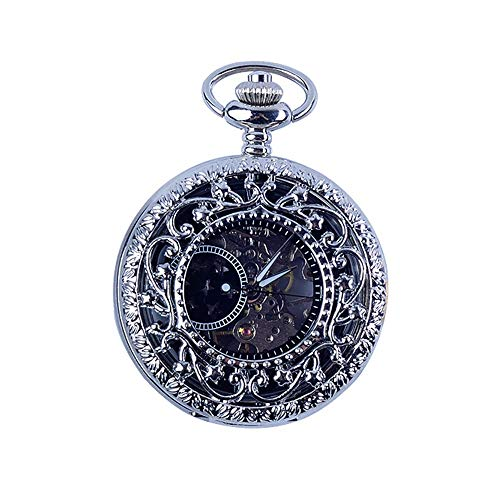 Reloj de bolsillo de la vendimia para hombre Reloj de bolsillo for hombre con la cadena, reloj de bolsillo de la vendimia mecánica Esqueleto clásico reloj de bolsillo conmemorativo Mecánica clásica ca