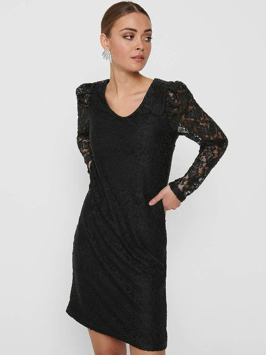 Only Onlpoula L//S V-Neck Lace Dress JRS Robe Femme