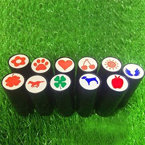 2個のゴルフボールスタンプマーカーを印刷用速乾性プラスチック製シリコーンスタンプシールマーカーなしフェード(ランダムな色