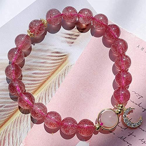 Plztou Feng Shui Wealth Crystal Bracelet Natural Strawberry Quartz Rose Quartz Transfer Bead 14K Gold Moon Bracelet Stretchy Bangle Amulet Attracting Wealth,15.5CM (Size : 16.5CM)