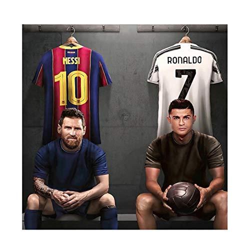 AZTeam Fútbol Fútbol Lionel Messi Cristiano Ronaldo Group Posters Impresiones Lienzo Pintura Arte De La Pared Sala De Estar Decoración para El Hogar-60X60Cm Sin Marco