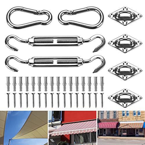 FORMIZON Kit de Fixation pour Voile d'Ombrage, 24 Pcs Kit de Montage, Accessoires de Rectangulaire/Carré Voile d'ombrage d'installation 316 Acier Inoxydable pour Jardins, Patios, en Plein Air
