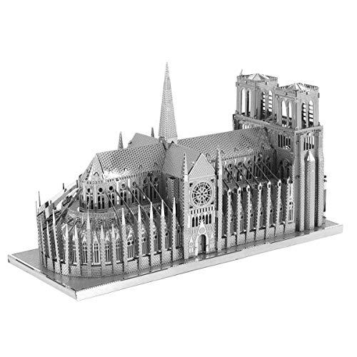 Metal Earth Modèle 3D Notre Dame de Paris – Maquette Architecture – Maison Miniature à Construire – Puzzle 3D en Metal de 11,7 x 8 x 5 cm