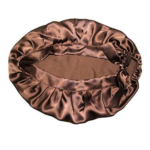 Nicole Knupfer 100% Seide Schlafmütze Atmungsaktive Nachtmütze Kopfbedeckung Schlaf Cap Hut mit elastischen Band Full Size für Haarpflege (Kaffee)