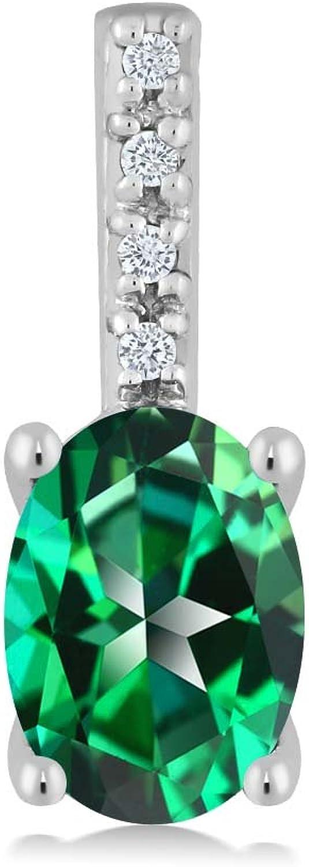 10K White gold Oval Diamond Pendant Necklace Natural Rainforest Topaz Cut by Swarovski (7x5mm center, 1.00 cttw)
