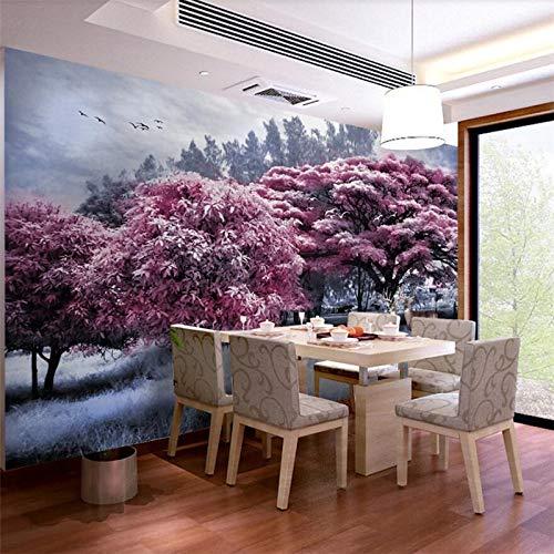 BHXIAOBAOZI Eigen 4D muurschildering groot wallpaper, lila luifel in het bos, moderne Hd zijde muurschildering poster afbeelding TV sofa achtergrond muur decoratie voor woonkamer 300cm(W)×200cm(H)|9.84×6.56 ft