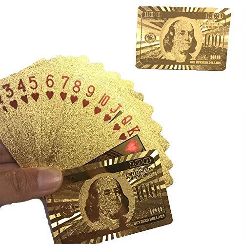 Naipes Dorados Impermeables, Uso Duradero, Naipes de póquer con lámina Dorada (Oro)