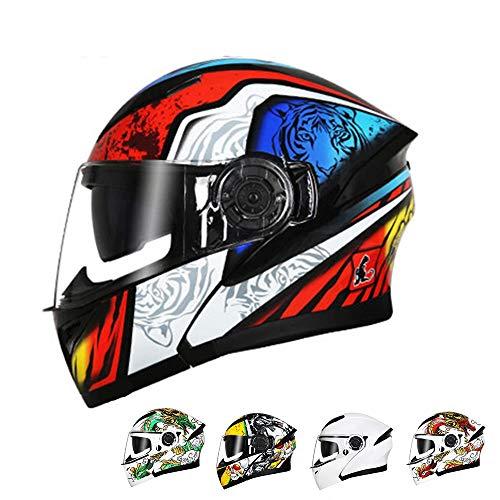Stella Fella Cascos hombres Bluetooth casco doble lente motocicleta eléctrica cuatro estaciones universal abierto casco casco completo - multicolor - patrón de personalidad - grande