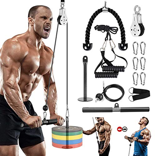 Elikliv DIY Pulley Cable Machine Attachment System 1.8m Length Adjustable Sets with Loading Pin Triceps Strap Home Gym Training Equipment Workout