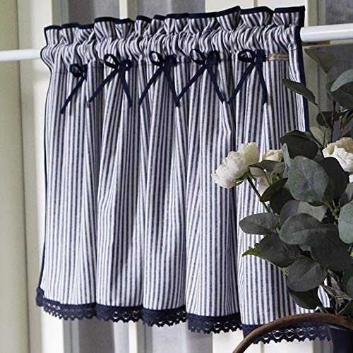 GDHY Farmhouse Kitchen Curtain Striped Café Curtain 100% Cotton Tier Curtains Lace Window Treatment Navy Blue Country Drapes with Bowknot