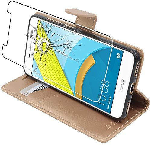 ebestStar - Cover Compatibile con Huawei Honor 6C PRO Custodia Portafoglio Pelle PU Protezione Libro Flip, Dorato + Pellicola Vetro Temperato [Apparecchio: 147.9 x 73.2 x 7.7mm, 5.2'']
