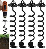 Eurmax 4-Pc Pack Spiral Stakes Heavy Duty Anchor Kit for Trampoline,...