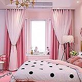 1 cortina romántica de cielo estrellado para dormitorio, sala de estar, elegantes cortinas de oscurecimiento con estrellas perforadas, cortinas de tul de doble cubierta (99 cm de ancho x 198 cm de...