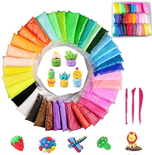 Modeling Clay 36 Color Modeling Clay Fluffy Slime, BESTZY DIY Soft Magic Clay Craft Air Dry Plasticine Ultra-light Modeling Dough with Tools, Children Educational Toys & DIY Gifts