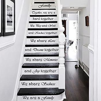 Calcomanías de pared para escaleras, citas con texto en inglés