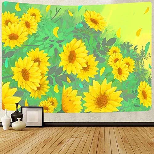 Tapiz Tapiz de girasol amarillo Galaxia abstracta Lluvia de meteoros Arte Tapices para colgar en la pared para la sala de estar Decoración del dormitorio del hogar 150x200cm