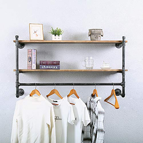 Industrial Pipe Clothing Rack Wall Mounted with Wood Shelves,Vintage Retail Garment Rack Display Rack Laundry Room Cloths Rack,Metal Commercial Clothes Racks for Hanging Clothes(Gold,39.3in)