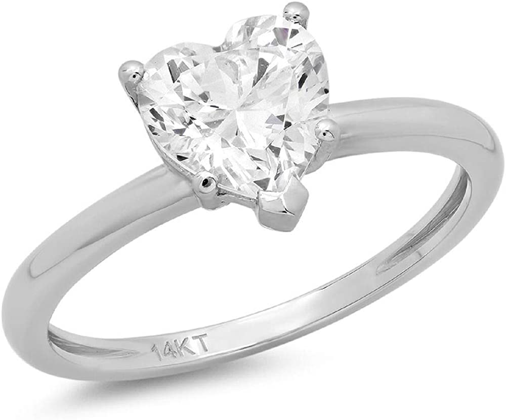 Clara Pucci 1.10 CT Heart Shaped Brilliant Cut CZ Designer Solitaire Ring Solid 14K White Gold