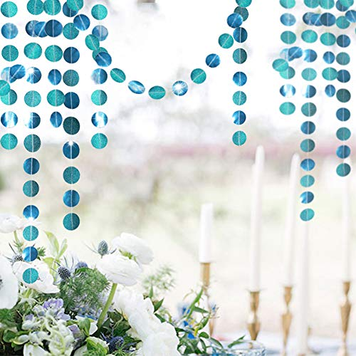 Cheerland Teal Wedding Party Decoration Emerald Twinkle Little Star Party Garlands Glitter Full Moon Streamer Banner for Birthday Wedding Receiption Baby Shower Sweet 16 Bachelorette Home