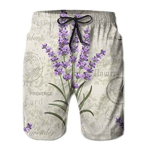 EU Lila Blume Blumen Lavendel auf Vintage Bunte Provence XXL Weiß Herren aktive Badeshorts im Sommer