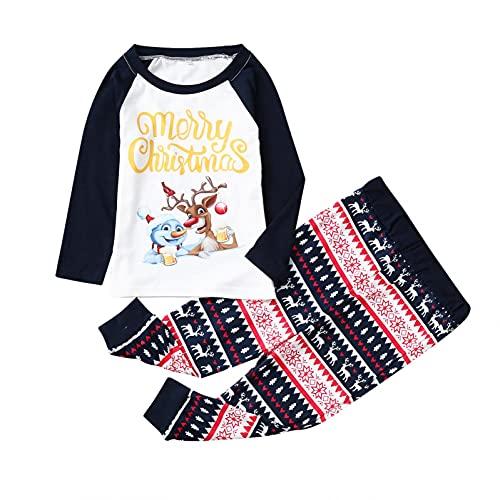 Pijamas de Navidad Familia Conjunto Invierno Otoño Ropa de Dormir para Hombre Mujer Niños Niña Bebe 2 Piezas Top y Pantalones Largo Camisetas de Manga Larga Sudadera Chándal Casual Homewear