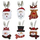 Libertepe 6pcs Porte-Couverts Serviette Couteaux Fourchette Cuillère en Forme de Costume Père Noël Mignon pour Décoration de Cuisine Table Réveillon Noël (6PCS)