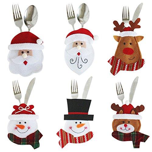 LAEMILIA 3/6 Stk. Weihnachten Tischdeko Christmas Motiv Besteck Messer Gabel Löffel Besteckbeutel Weihnachtsmann Elch Schneemann Weihnachtsdeko Tisch Dekoration (One size, 0273#-6 Stück)