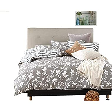 Swanson Beddings Leafy Vines 3-Piece 100% Cotton Bedding Set: Duvet Cover Two Pillow Shams (Queen)