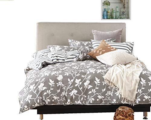 Swanson Beddings Leafy Vines 3-Piece 100% Cotton Bedding Set: Duvet Cover Two Pillow Shams (Oversized King)
