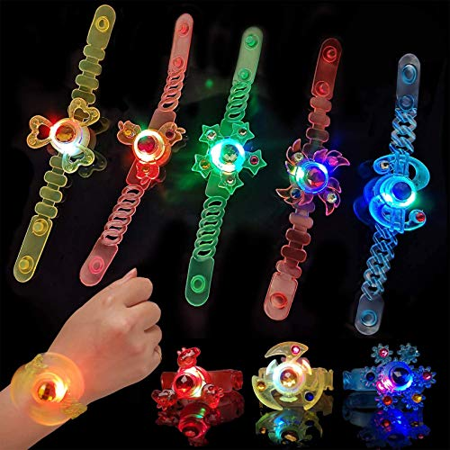 Party Favors 12 Pcs LED Light Up Bracelets Toys Glow in The Dark Party Supplies,Spin Glow Bracelets Party Birthday Easter Halloween Christmas Supplies