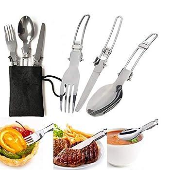 V GEBY Kit de Cuisine de Camping de 12 pièces avec casseroles et poêles en carbure de tungstène Essentiel avec Un Sac pour 1-2 Personnes