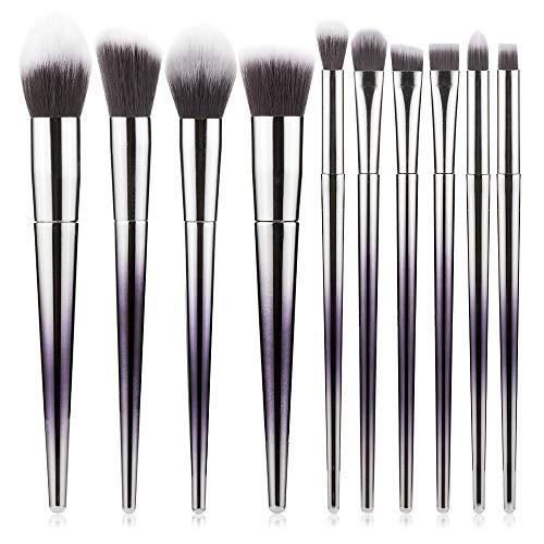 VFJLR 10 pcs Haute Qualité Maquillage Brosses Ensemble Fondation Poudre Blush Fard À Paupières Éponge Brosse Fibre Cheveux Doux Cosmétique Outils VIOLET