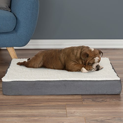 PETMAKER Orthopedic Sherpa Top Pet Bed with Memory Foam and Removable Cover 30x20.5x4 Gray, Model Number: 80-PET5089G
