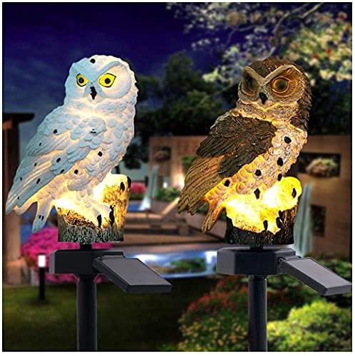 LED Solar Außen Eule Vogel Deko Figur Garten Lampen,Solarbetriebene Pfahl Lichter Art Light Dekoration für den Garten Rasen Terrasse Feld Weg (2PC - A)
