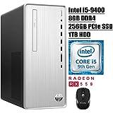 HP Pavilion 2020 Premium Gaming Desktop Computer 9th Gen Intel Hexa-Core i5-9400 (Beats i7-7700HQ) 8GB DDR4 256GB PCIe SSD 1TB HDD 2GB AMD Radeon RX 550 DVD WiFi HDMI Win 10 + iCarp Wireless Mouse