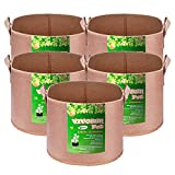 VIVOSUN 5-Pack 20 Gallons Grow Bags Heavy Duty Thickened Nonwoven Fabric Pots with Strap Handles Tan