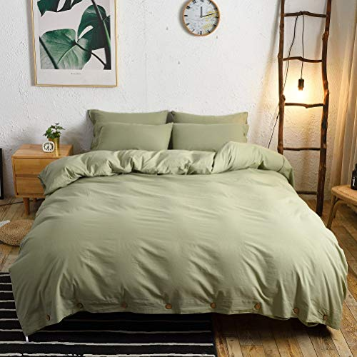 M&Meagle 3 Pieces Green Duvet Cover Queen,100% Washed Cotton...