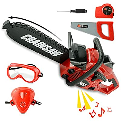 Toy Choi's Pretend Play Series Chainsaw Toy Tool Play Set, Outside Construction Work Shop Toy Tool Kit Outdoor Preschool Gardening Lawn Toy Gift for Kids Toddler Baby Children Boys and Girls from Toy Choi's