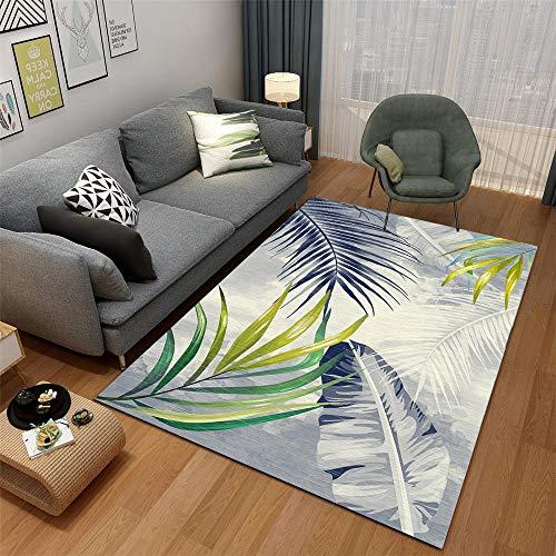 RugMRZ minimalisme, decoratief tapijt, duurzaam, driedimensionaal blad design, groen Het voeteneinde is zacht en veelzijdig bruikbaar.