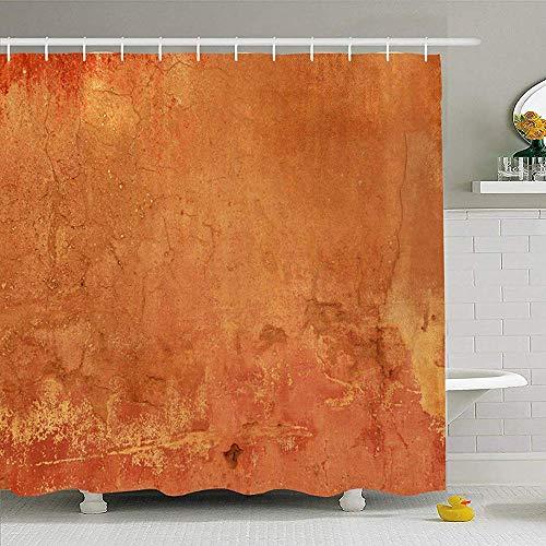 ABRAN Duschvorhang mit Haken Solide Grunge Texture Terracotta Scruffy Abstract Plain Textures Stein Retro Mittelmeer Zement wasserdicht