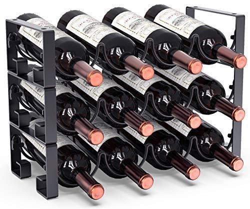 3 Tier Stackable Wine Rack Freestanding Floor Wine Racks Countertop for Kitchen Pantry Cabinet, Wine Cellar Bottle Holder Storage, Hold 12 Bottles, Metal