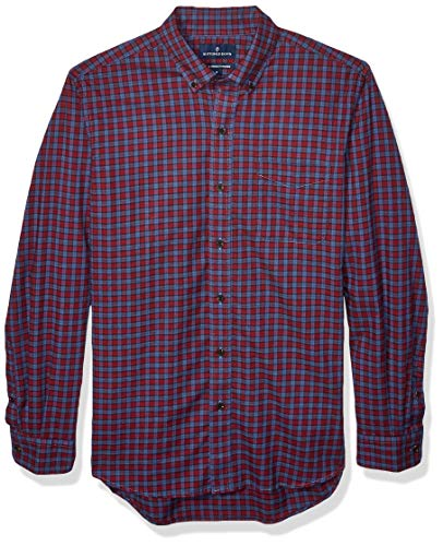 Amazon Brand - Buttoned Down Men's Classic Fit Supima Cotton Brushed Twill Plaid Sport Shirt, Burgundy/Blue Check XXX-Large Tall
