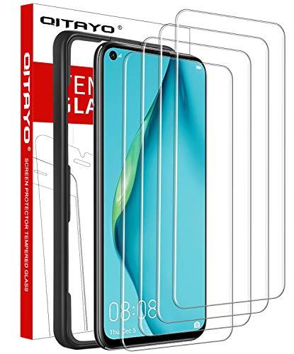 QITAYO, 4 Stück, Panzerglasfolie kompatibel mit Huawei P40 Lite, mit Positionierhilfe, Panzerglas schutzfolie für Huawei P40 Lite