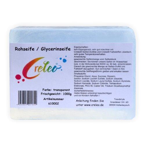 Creleo Glycerinseife Transparent 1 kg Gieß Seife/Rohseife zum Seifengiessen