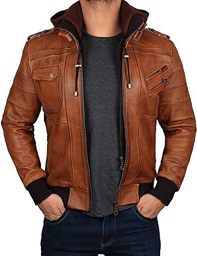 Decrum Mens Brown Leather Jacket with Hood | [1100154] Edinburgh Tan, L