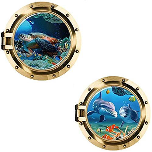 Hava Kolari 2 Stücke Wandtattoo Wandsticker, 3D u-Boot-Bullaugen Delphin und Schildkröten Unterwasser Welt Wand Aufkleber Home Decor, 50 * 50cm