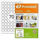 Etichette universali rotonde Printation, diametro 24 mm, 7000 etichette o punti di marcatura, autoadesive, stampabili: 100 fogli DIN A4 con etichette rotonde da 24 mm